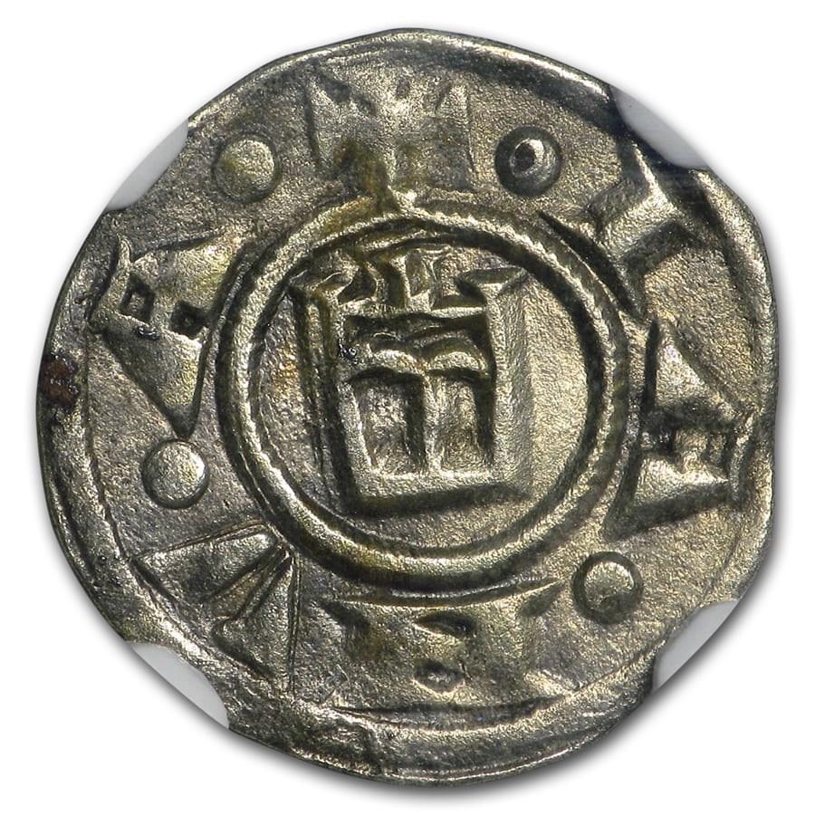(1139-1339) Italian States Genoa Silver Denaro AU-50 NGC