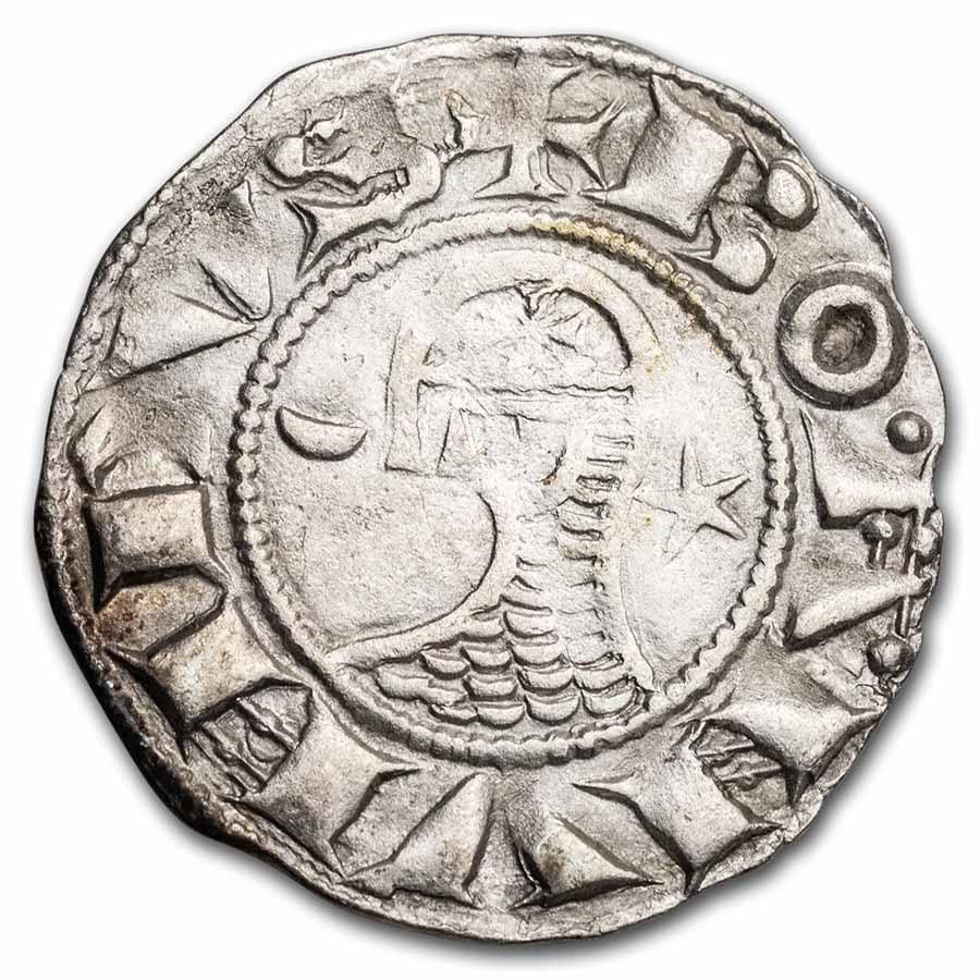(1163-1201 AD) Crusader States Antioch Ag Denier Bohemond III XF