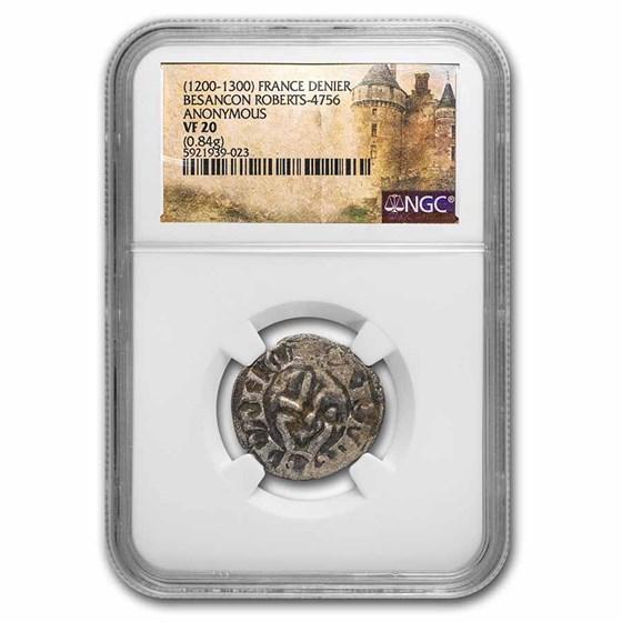 (1200-1300) France Silver Denier Besancon VF-20 NGC