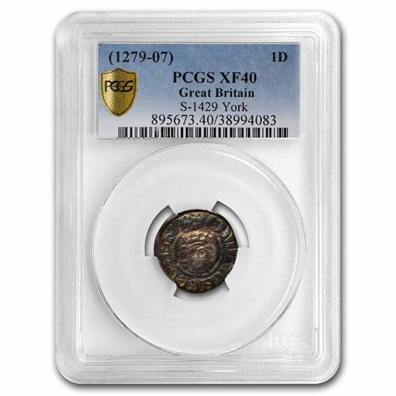 1279-1307 AD Kingdom of England Silver Penny Edward I XF-40 PCGS