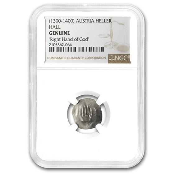 (1300-1400) Austria Silver Hand Heller Genuine NGC (w/COA)