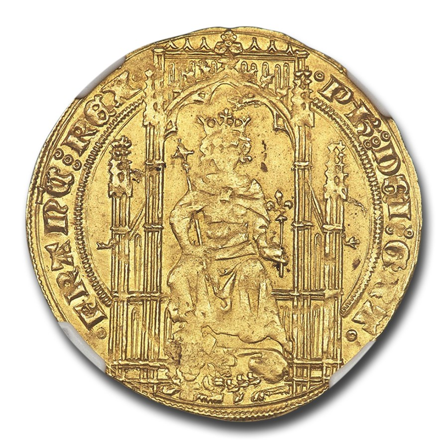 (1328-50 AD) Kingdom of France Gold AV Lion d'or MS-63 NGC