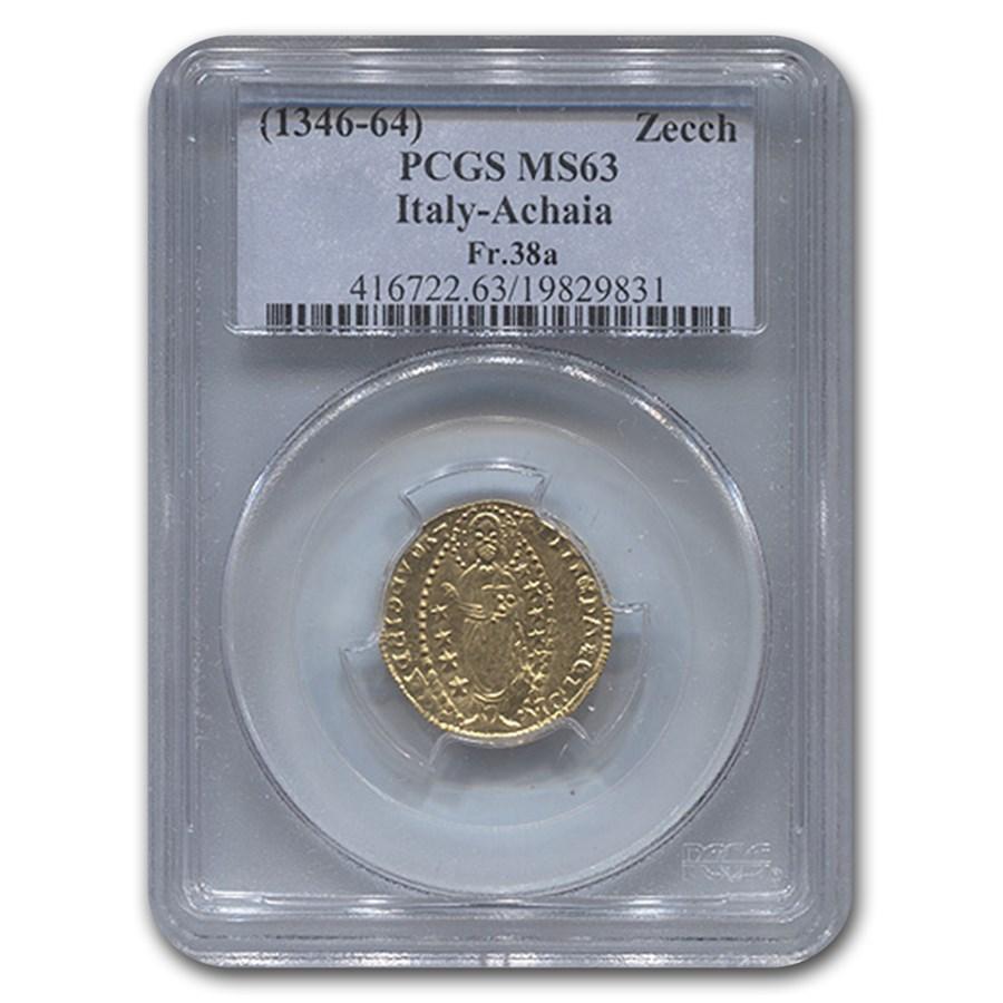 1346-64 Italy Gold Zecchino Achaia MS-63 PCGS
