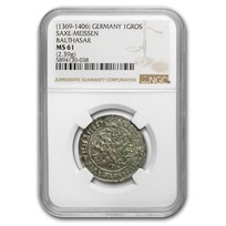1369-1406 Germany Saxe-Meissen Silver Gros MS-61 NGC
