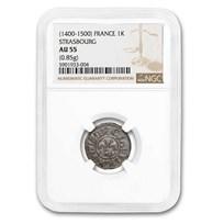 1400-1500 Free City of Strasbourg Silver Kreuzer AU-55 NGC