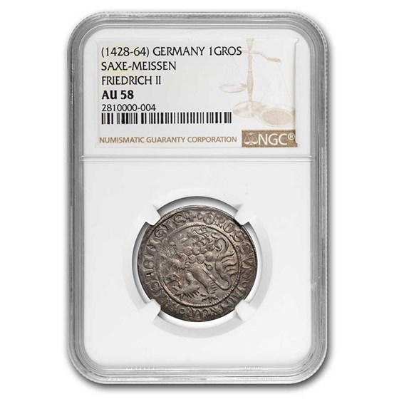 (1428-64) Germany Saxe-Meissen Friedrich II Silver Gros AU-58 NGC