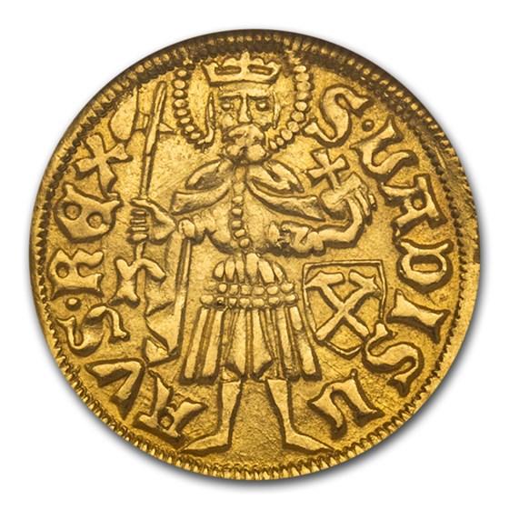 1458-1490 AD Kingdom of Hungary AV Goldgulden M. Corvin MS-63 NGC