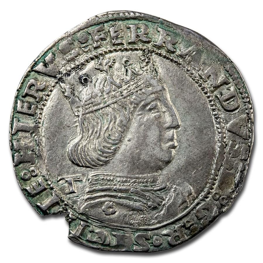 (1458-94 AD) Kingdom of Naples Silver Coronato XF