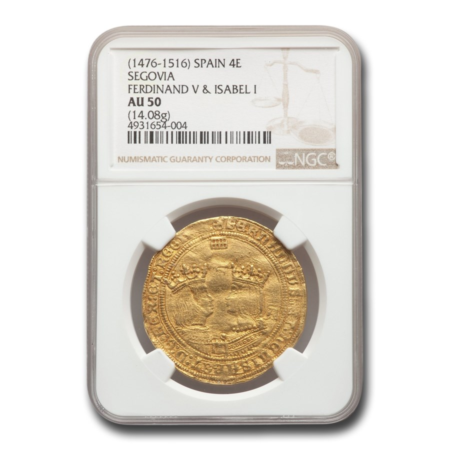 1479-1516 Spain Gold 4 Excelente Ferdinand and Isabella AU-50 NGC