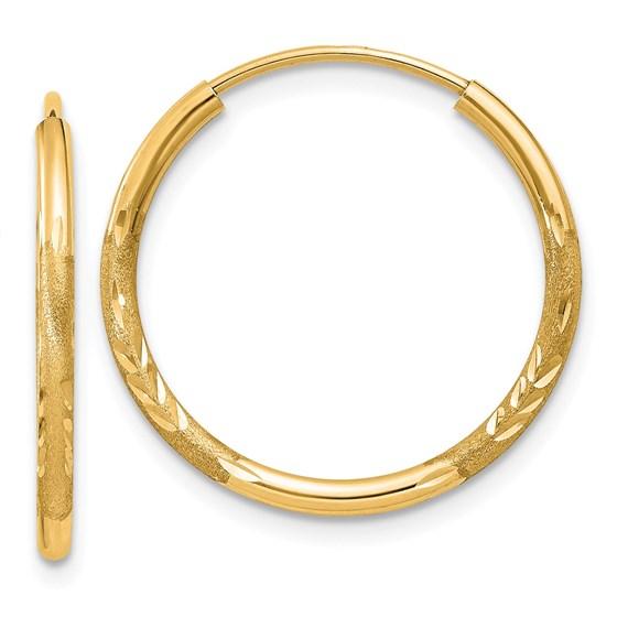 14k 1.5 mm Satin Diamond-cut Endless Hoop Earrings