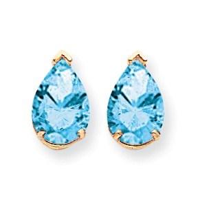 14k 10x7 mm Pear Blue Topaz Earrings
