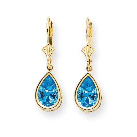 14k 10x7 mm Pear Blue Topaz Leverback Earrings