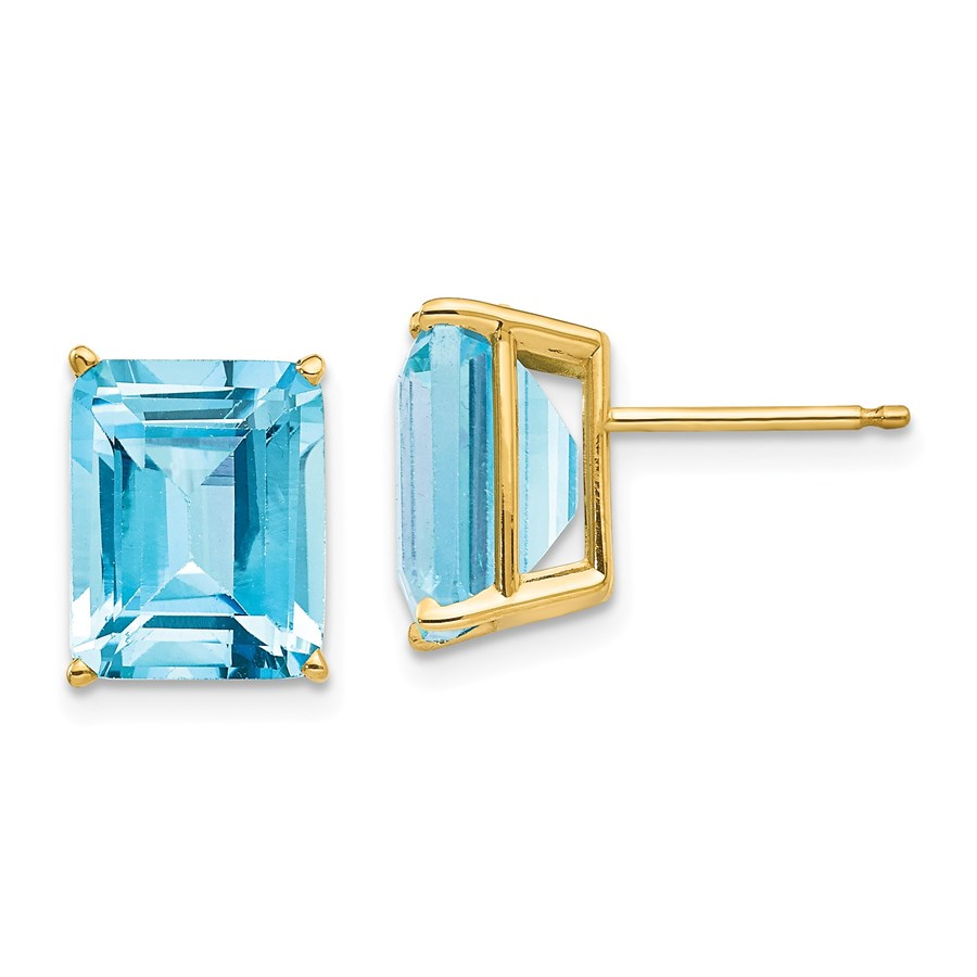 14k 10x8 mm Emerald Cut Blue Topaz Earrings