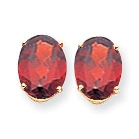 14k 10x8 mm Oval Garnet Earrings