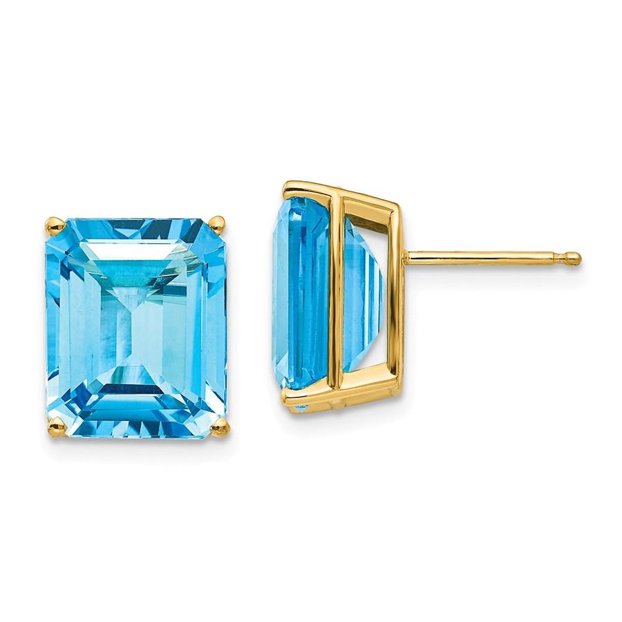 14k 12x10 mm Emerald Cut Blue Topaz Earrings