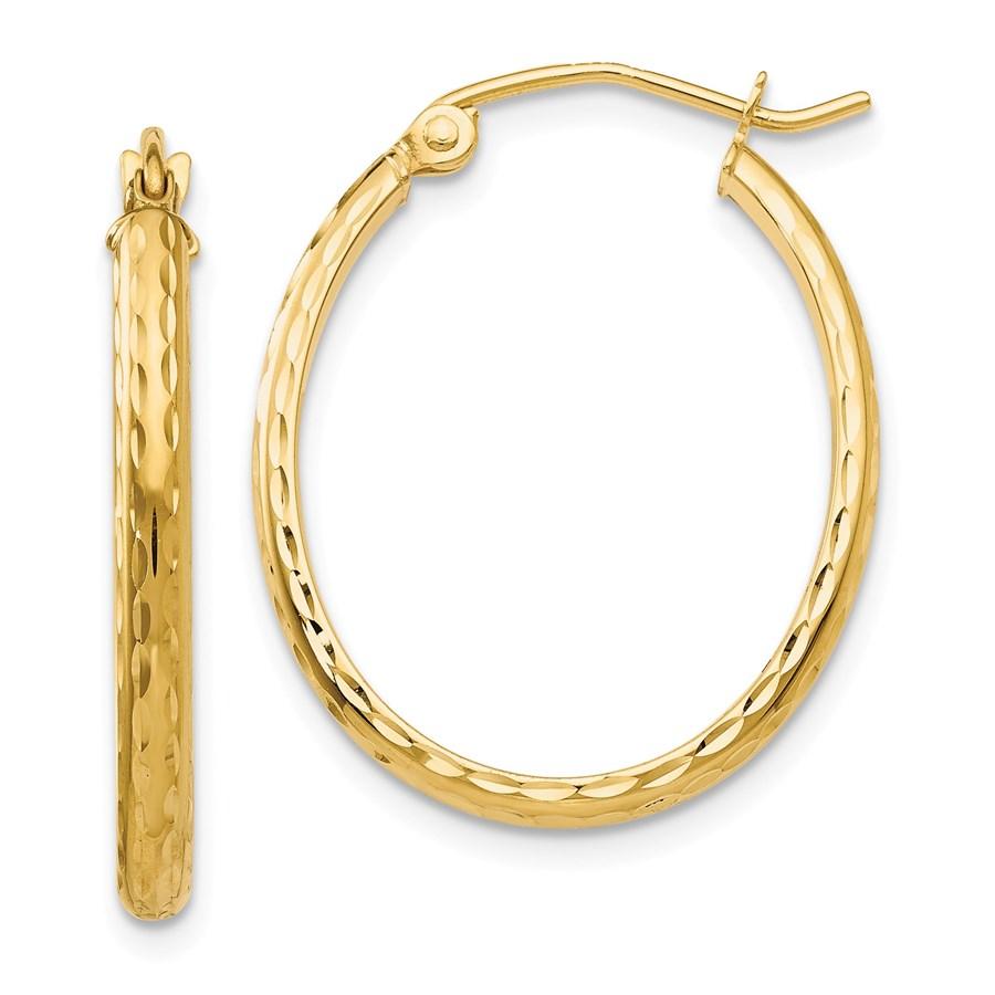 14k 17 mm Diamond-cut Oval Hoop Earrings