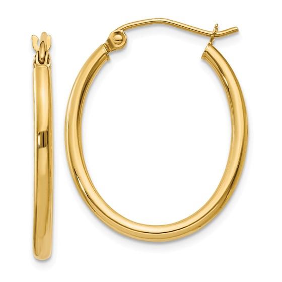 14k 17 mm Oval Polished Hoop Earring