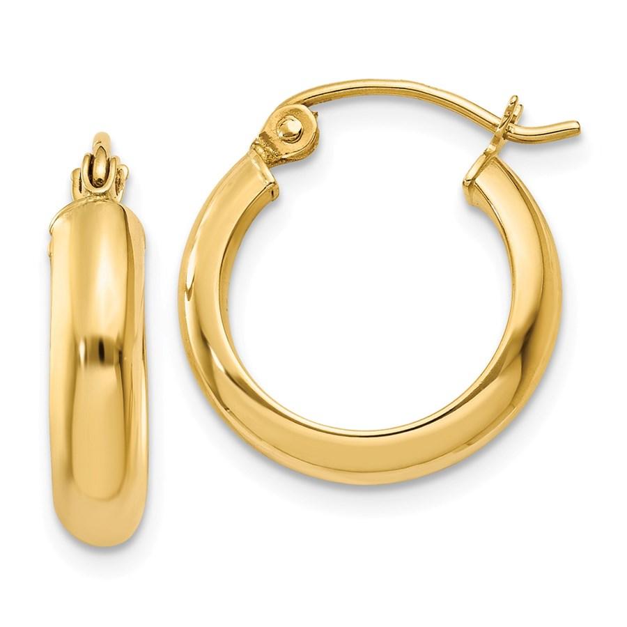 14k 17 mm Round Tube Hoop Earrings