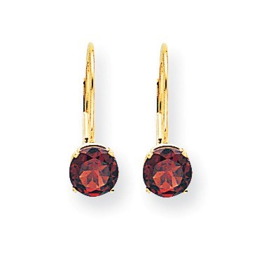 14k 18 mm Garnet Leverback Earrings