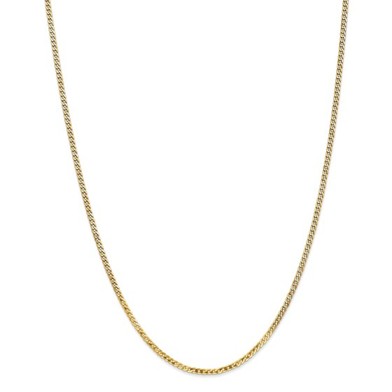 14k 2.2 mm Beveled Curb Chain Necklace - 18 in.