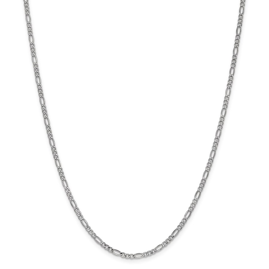 14k 2.5 mm White Gold Semi-Solid Figaro Chain Necklace - 20 in.
