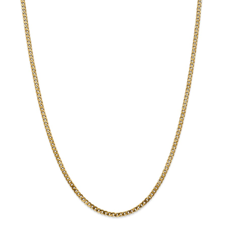 14k 2.9 mm Beveled Curb Chain Necklace - 24 in.