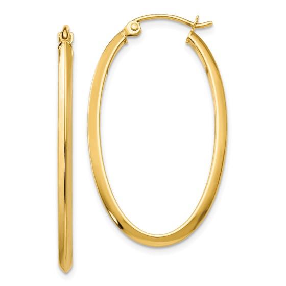 14k 2 mm Oval Hoop Earrings
