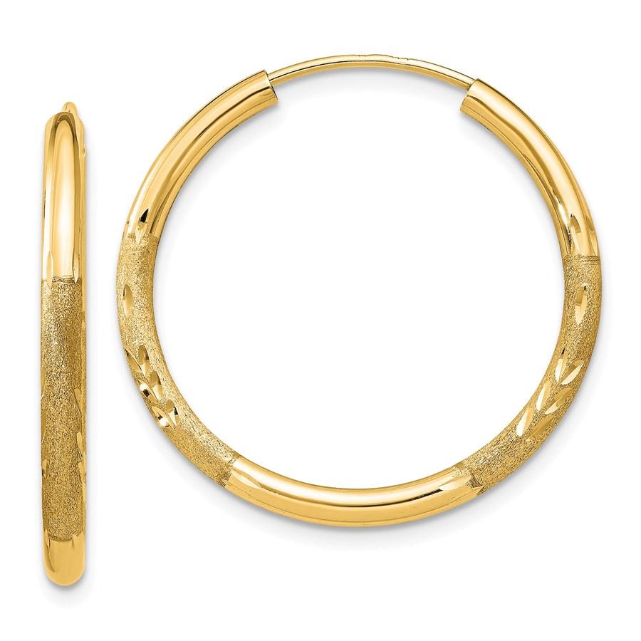 14k 21 mm Satin Diamond-cut Endless Hoop Earrings
