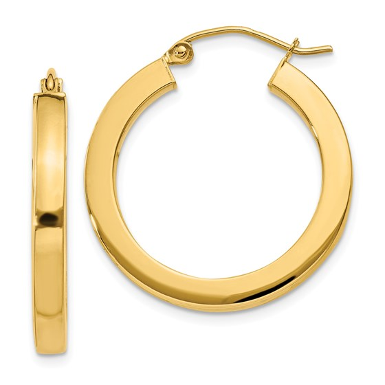 14k 25 mm Polished Square Hoop Earrings