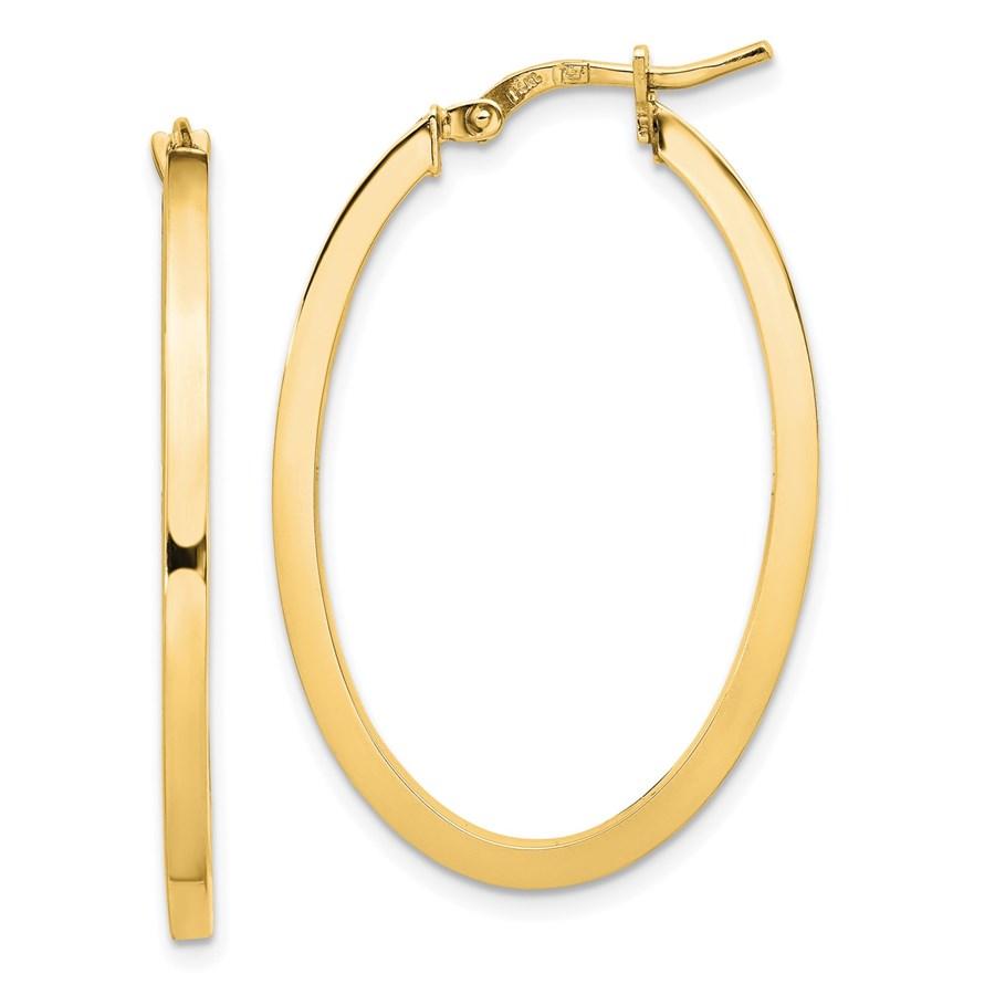 14K 2mm High Polished Oval Hoop Earrings - 35 mm