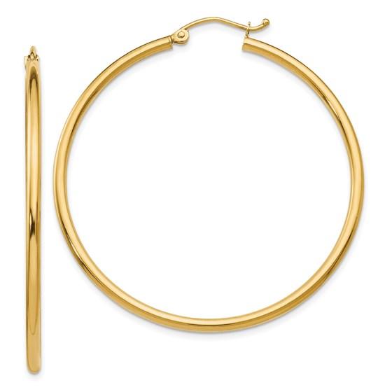 14K 2mm Polished Hinged Hoop Earrings - 45 mm