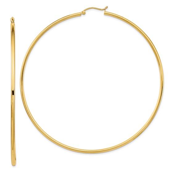 14k 2mm Polished Hoop Earrings - 81 mm