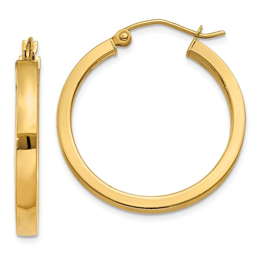 14k 2x3 mm Square Tube Hoop Earrings