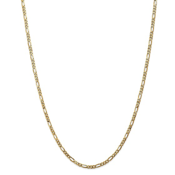 14k 3.00 mm Flat Figaro Chain Necklace - 24 in.