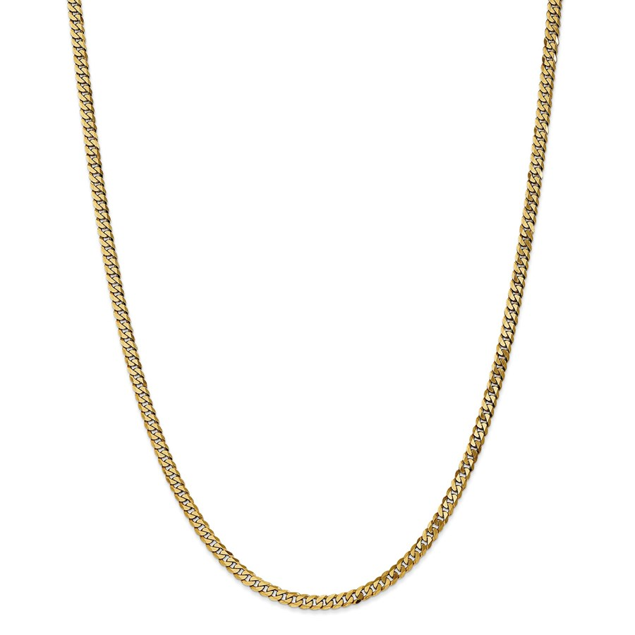14k 3.2 mm Beveled Curb Chain Necklace - 24 in.