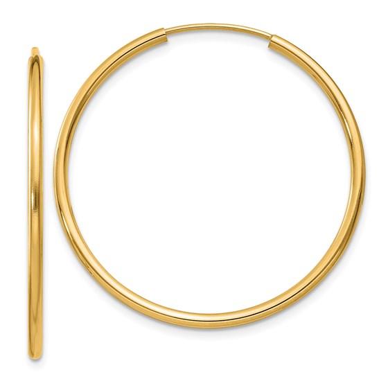 14k 30 mm Round Endless Hoop Earrings