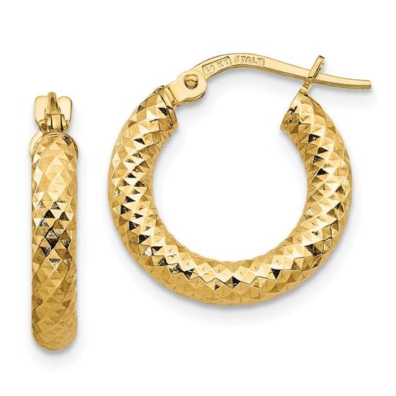 14K 3x10 D/C Round Hoop Earrings - 17.19 mm