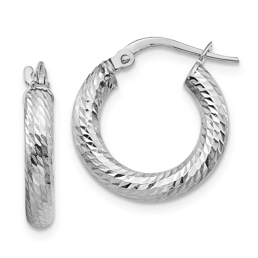 14K 3x10 White Gold D/C Round Hoop Earrings - 17.14 mm