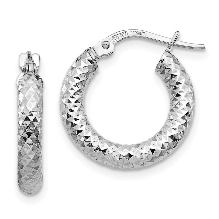 14K 3x10 White Gold D/C Round Hoop Earrings - 17.19 mm