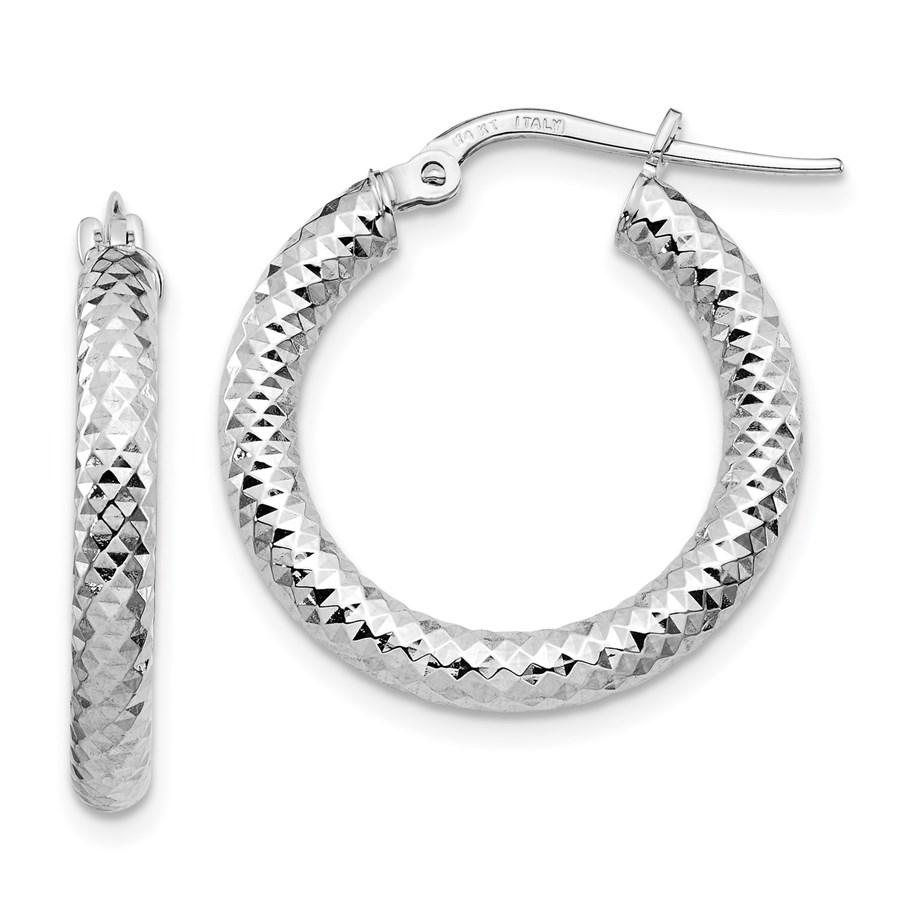 14K 3x15 White Gold D/C Round Hoop Earrings - 22.92 mm