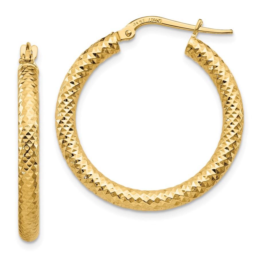 14K 3x20 D/C Round Hoop Earrings - 28.8 mm