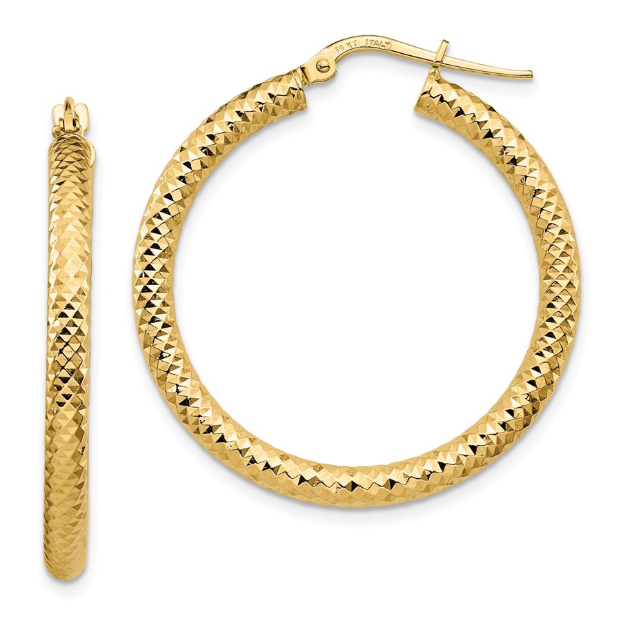 14K 3x25 D/C Round Hoop Earrings - 33.67 mm