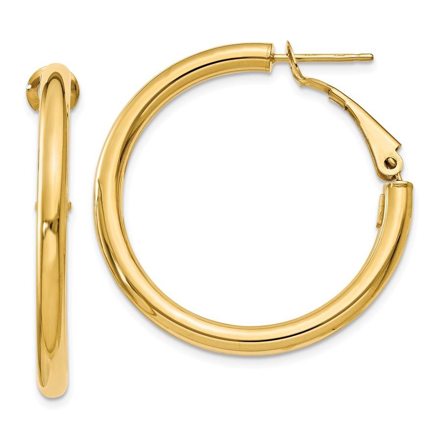 14k 3x25 mm Polished Round Hoop Earrings