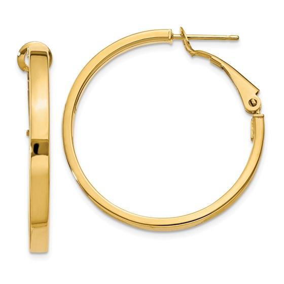 14k 3x25 mm Polished Square Tube Round Hoop Earrings