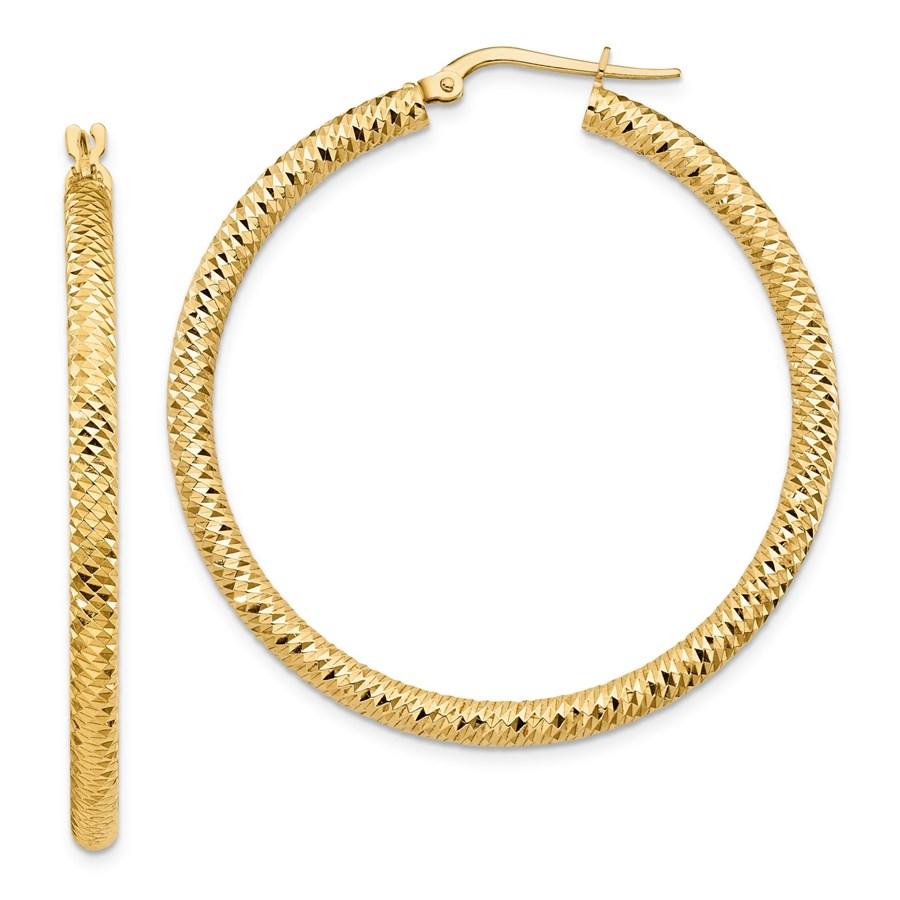14K 3x35 D/C Round Hoop Earrings - 45.27 mm