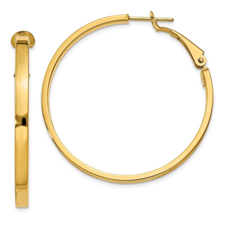 14k 3x37 mm Polished Square Tube Round Hoop Earrings