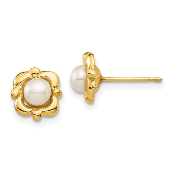 14k 4-5mm White Button Freshwater Pearl Post Earrings - 7.95 mm