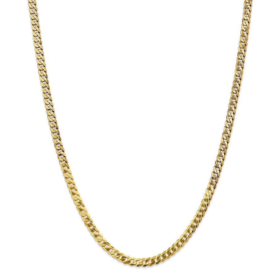 14k 4.75 mm Beveled Curb Chain Necklace - 24 in.