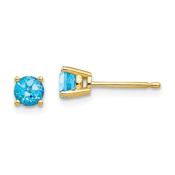 14k 4 mm Blue Topaz Earrings
