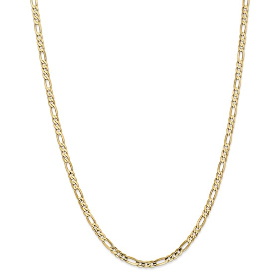 14k 4 mm Concave Open Figaro Chain Necklace - 24 in.